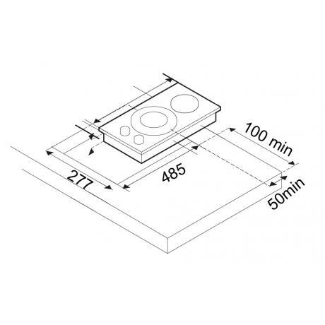 Σχέδιο εντοιχισμού εστίας Domino TG 9310 IX