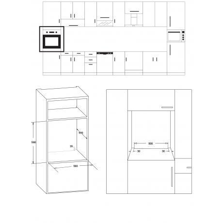 TGS 5522 BL RUSTIC σχέδιο εντοιχισμού άνω πάγκου